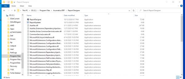 Program   Report Designer is 72 kb